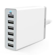 Anker A2123系列 60W 6口USB充电器手机平板通用智能快充充电器头 【白色】