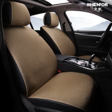 文丰 WF-055 亚麻系列 四季通用免捆绑型五座汽车座垫 标准版五件套【浅咖】
