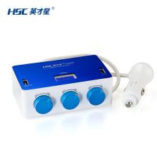 英才星/HSC  测电压 3.1A双USB电瓶电压一分三点烟器 带开关YC-434 【白蓝】