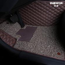文丰 WF-JD12 水波纹皮革加丝圈双层全包专车专用五座脚垫【咖色】