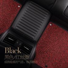 文丰静音皮革丝圈双层可拆卸专车专用五座脚垫JD22【黑红】
