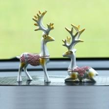 车内饰品摆件 一路平安鹿摆件车载高档个性创意可爱汽车用品摆件   摆件鹿(气质银色)-1对装