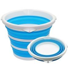 悦卡 洗车水桶多功能便携式大容量折叠水桶车家两用10L【蓝白色】
