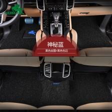 御马(yuma)工匠系列皮革包边 汽车丝圈脚垫 五座 专车专用汽车脚垫 经典神秘蓝