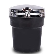 福和祥 车载烟灰缸带盖带夜灯 汽车用品烟灰缸带LED灯 翻盖可拆卸烟灰缸 汽车办公室通用 酷黑+银