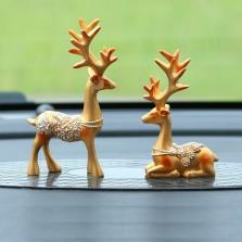 车内饰品摆件 一路平安鹿摆件车载高档个性创意可爱汽车用品摆件   摆件鹿(土豪金)-1对装