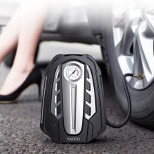 沿途 车载充气泵 汽车打气泵 120w大功率机械表 汽车轮胎用 汽车用品 12v便携式电动打气泵 AM03 黑色