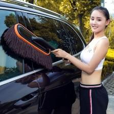 悦卡 汽车掸子 洗车刷子擦车用除尘蜡拖把 可伸缩扫灰刷车工具 YC-433 【棉线棕色】
