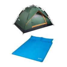 德国TAWA 3-4人全自动拉绳款帐篷+双人气垫床 户外野营帐篷套餐 (军绿基础款)180411