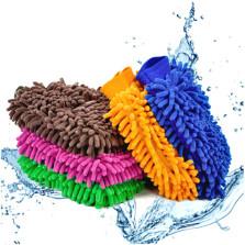 传枫 雪尼尔擦车手套 细纤维珊瑚绒海绵手套 干湿两用 【1条装】颜色随机