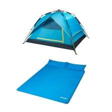德国TAWA 3-4人全自动拉绳款帐篷+双人气垫床 户外野营帐篷套餐 (天蓝惠享款)160626