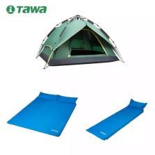 TAWA 3-4人全自动帐篷+双人气垫床+单人气垫床【套餐1-家庭款】
