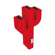 顽卓/VOJO正品仙人掌三USB车载充电器,内置LED,5V/(1A+2.1A+1A) 玫红