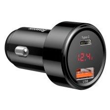 倍思 魔力系列 双口Type-C+USB车载手机充电器 电压显示 点烟器车充 45W 沉稳黑