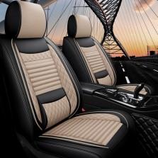 梦雅德 汽车坐垫四季通用全包围座套新款6D亚麻固定腰靠全包座垫套   (标准版  温馨米)