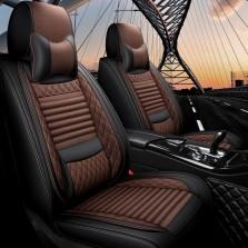 梦雅德 汽车坐垫四季通用全包围座套新款6D亚麻固定腰靠全包座垫套   (豪华版  魅力咖)