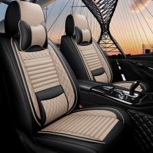 梦雅德 汽车坐垫四季通用全包围座套新款6D亚麻固定腰靠全包座垫套   (豪华版  温馨米)
