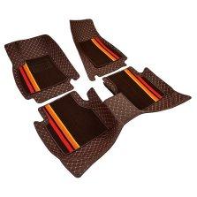 牧宝 全包围双层高弹丝脚垫 【彩条款-棕色】